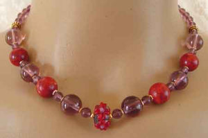Big Red Coral Amethyst Artisan Lampwork Necklace