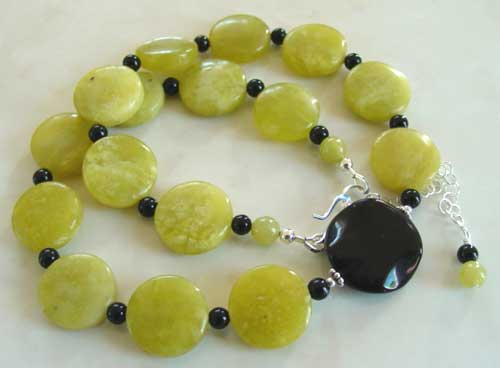 Modern Art Green Jade Black Waves Necklace Silver Jewelry