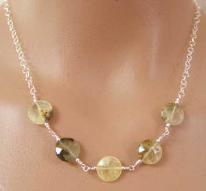 Prehnite Faceted Coins Sterling Silver Necklace Gemstone Jewelry