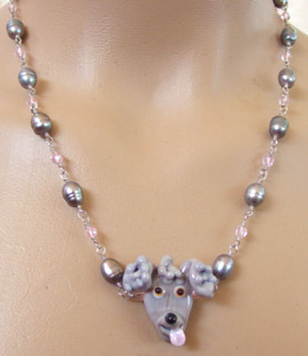 Dog Jewelry Poodle Le Pearls Pink Puppy Necklace