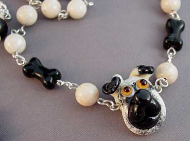 Pug Lampwork Dog Necklace Earrings Jewelry Set Handmade
