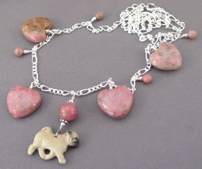 Dog Jewelry Pug Pretty in Pink Dog Necklace