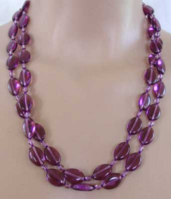 "Purple Passion Necklace Extra Long 48"" Silver Jewelry"