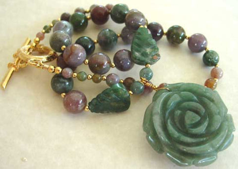 Chunky Rose Multi Gemstone Flower Necklace Gold Jewelry