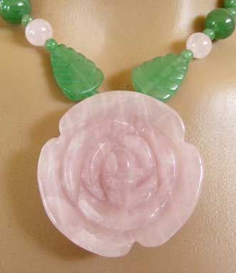 Primitive Pink Rose Necklace with Green Leaves