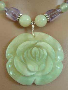 Amethyst Serpentine Jade Tropical Rose Necklace
