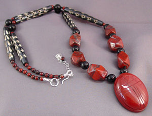 Dramatic Red Black Scarab Necklace Symbol Jewelry