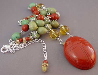 Turquoise Citrine Jasper Scarab Necklace Handcrafted Jewelry