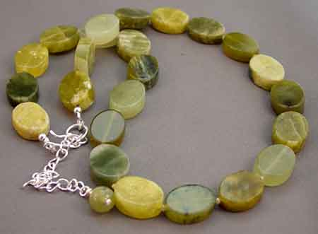 Peridot Jade Silver Necklace Good Fortune Lucky Jewelry