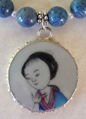 Blue Coral Geisha Chinese Pottery Shard Necklace