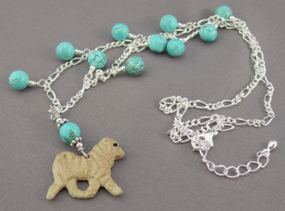 Shar Pei Dog Turquoise Necklace Dog Breed Jewelry Handmade