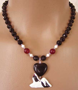 Shih Tzu Dog Breed Jewelry Necklace Jet Black Crystal Handmade