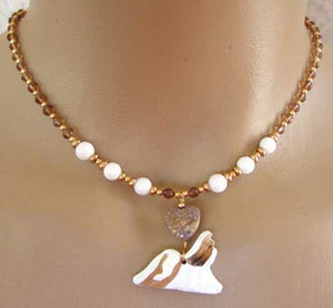 Shih Tzu Dog Jewelry Necklace Coffee Crystals Heart Handmade