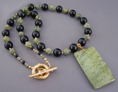 Big Bold Russian Jade Obsidian Necklace Gold Jewelry
