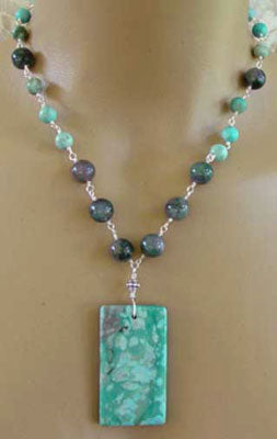 Dreamy Turquoise Jasper Moss Agate Necklace Silver Jewelry