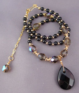 A Little Diva A Lot Divine Black Briolette Teardrop Necklace