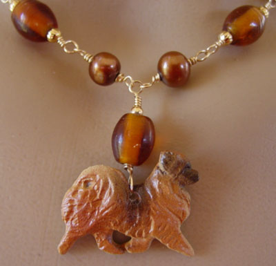 Tibetan Spaniel Dog Jewelry Breed Necklace Pearls Gold