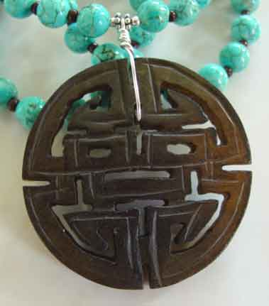 Chinese Shou Necklace Turquoise Longevity Symbol Jewelry