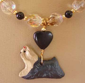 Yorkshire Terrier Dog Jewelry Necklace Smoky Crystals