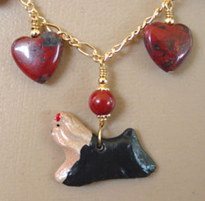 Dog Jewelry Yorkshire Terrier Yorkie Necklace Red Hearts