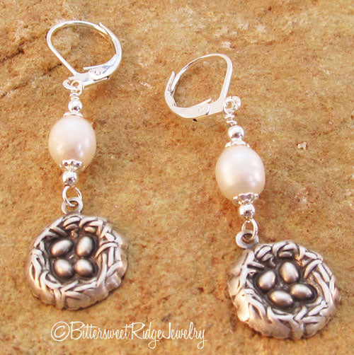 Bird Nest Earrings Freshwater Pearls Silver Repousse