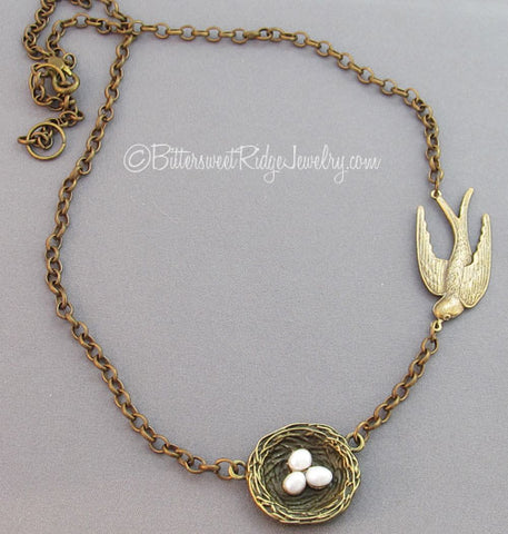 Flying Bird and Nest Necklace Freshwater Pearls Vintage Brass