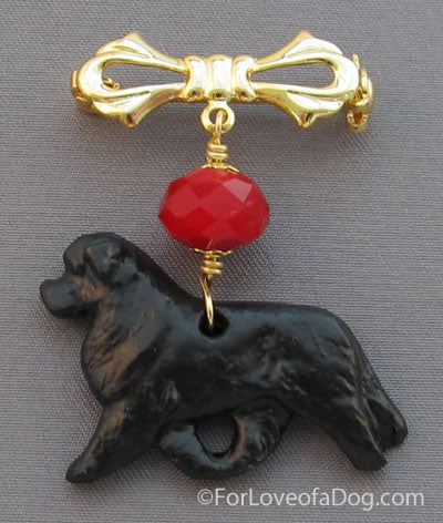 Newfoundland Dog Pin Red Crystal Gold Handmade Jewelry