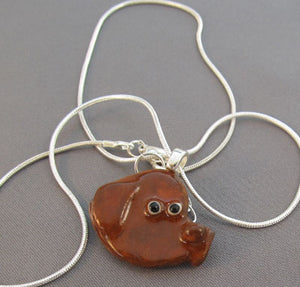 Brown Newfoundland Dog Pendant Necklace Silver