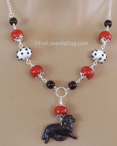 Newfoundland Dog Necklace Coral Polka Dot Lampwork Jewelry