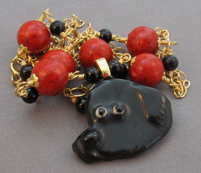 Newfoundland Dog Necklace Red Coral Gold Jewelry