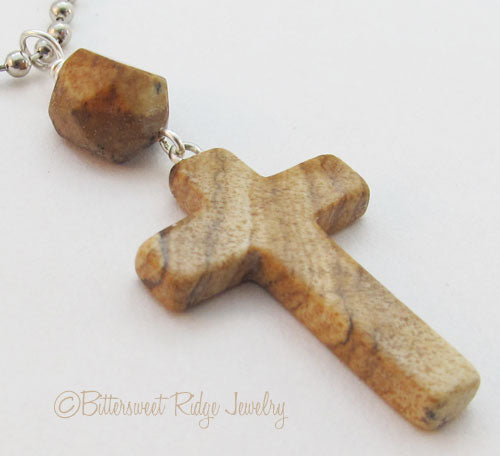 Unisex Cross Necklace Picture Jasper Silver Ball Chain