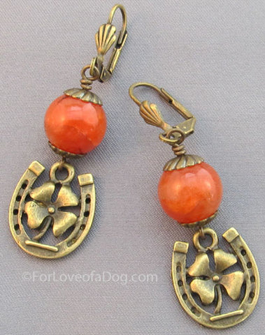 Horse Shoe 4 Leaf Clover Earrings Orange Agate