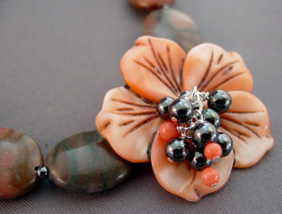 Misty Rain Exotic Flower Necklace Handcrafted Jewelry