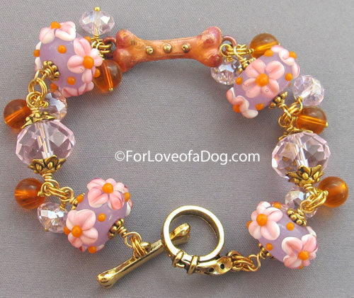 Copper Dog Bone Bracelet Orange Pink Lampwork