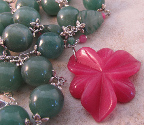 Hot House Orchid Flower Necklace Chunky Jewelry