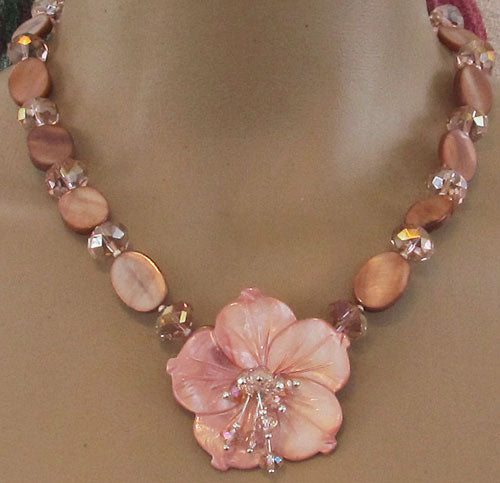 Sunset Romance Flower Necklace Crystal Jewelry