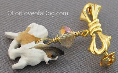 Papillon Dog Pin Crystal Gold Handmade Jewelry