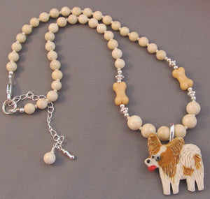 Happy Dog Pin Necklace Set Tan Dog Bones