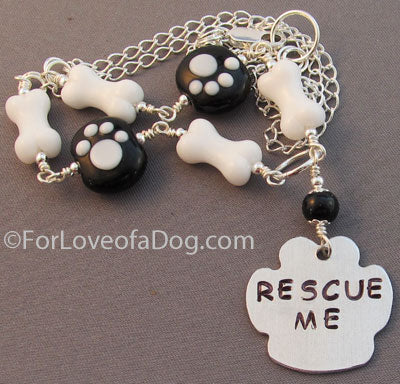 Rescue Me Paw Print Necklace Dog Bones Silver