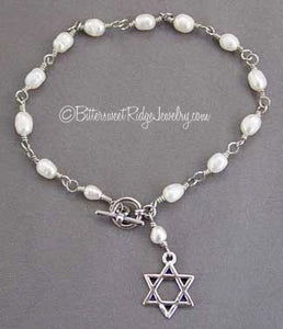 Sterling Silver Star of David Bracelet Freshwater Pearls Judaica Jewelry