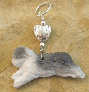 Bearded Collie or Old English Sheepdog Dog Pendant Silver Heart
