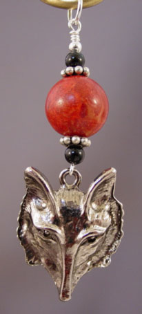 Equestrian Jewelry Pendant Fox Hunt Red Coral Silver