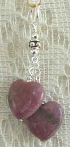 Love Charm Pink Rhodonite Heart Pendant