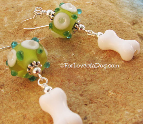 Dog Bone Earrings Peridot Green Turquoise Lampwork on Silver