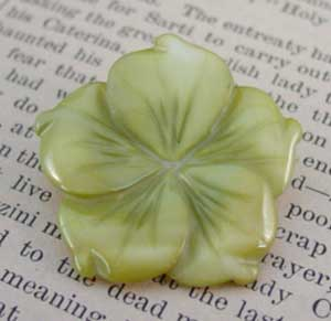 Green Flower Pin Dark Peridot Mother of Pearl