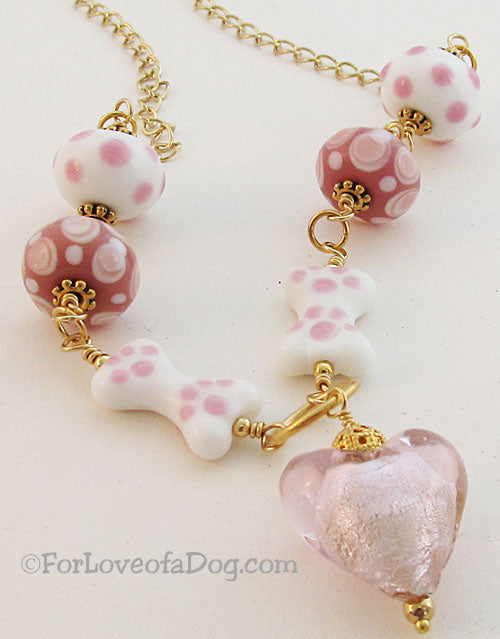 Pink Heart Dog Bone Necklace Lampwork on Gold