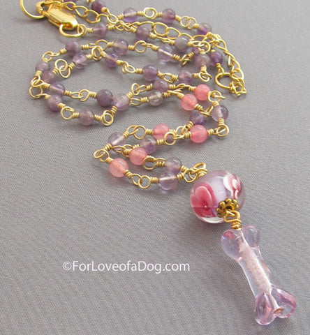 Amethyst Dog Bone Necklace Pink Purple Lampwork on Gold