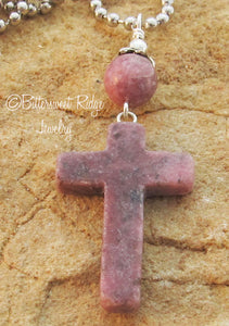 Unisex Cross Necklace Anxiety Protection Rhodonite