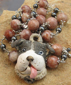 Dog Jewelry Necklace Black White Artisan Pendant