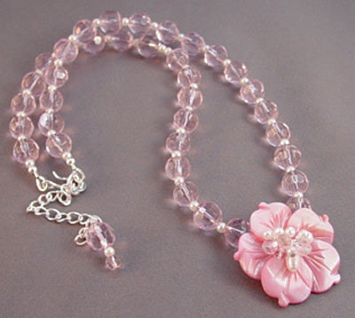 Pink Flower Necklace Romantic Crystal Jewelry